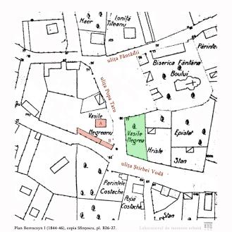 Planul Borroczyn I (1844-1846), copia Sfințescu, c. B26-7: intersecția ulițelor Știrbei Vodă și Popa Tatu. Se disting casa (A) și prăvălia? (B) lui Vasile Negreanu, precum și grădina de cealaltă parte a uliței.