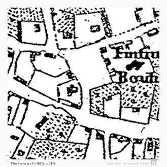 Planul Borroczyn II (1852), c. C4-5: intersecția ulițelor Știrbei Vodă și Popa Tatu.