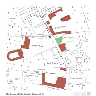 Planul Borroczyn I (1844-46), copia Sfințescu, pl. 28: Podul Mogoșoaiei între metocul Episcopiei de Râmnic și casa Dinicu Golescu (palatul domnesc). Se disting casele Arion-Slătineanu, Lahovari și Filipescu.