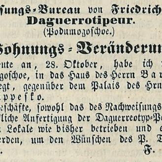 Anunț de mutare a atelierului lui Friedrich Binder în casa lui Barbu Slătineanu. Bukarester Deutsche Zeitung 86 din 28 oct./11 nov. 1854: 344.
