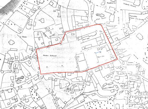Posibila identificare pe planul Borroczyn din 1846 (linia albastră)